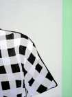 Agnes Lörincz<br><p class='title'>Ärmal karriert</p>, 2014<br>Acryl, Stoff auf Leinwand<br> 120 x 90  cm