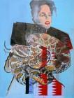 Agnes Lörincz<br><p class='title'>Frau mit Schlange</p>, 2013<br>Öl, Acryl, Stoff auf Leinwand<br> 200 x 150  cm