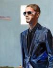 Agnes Lörincz<br><p class='title'>Mann mit Sonnenbrille</p>, 2009<br>Acryl auf Leinwand<br> 100 x 80  cm